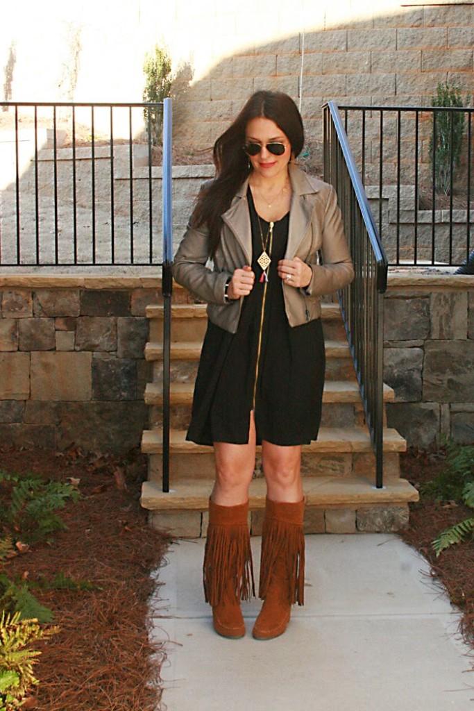 fringe boots black dress leather jacket ray-ban sunglasses