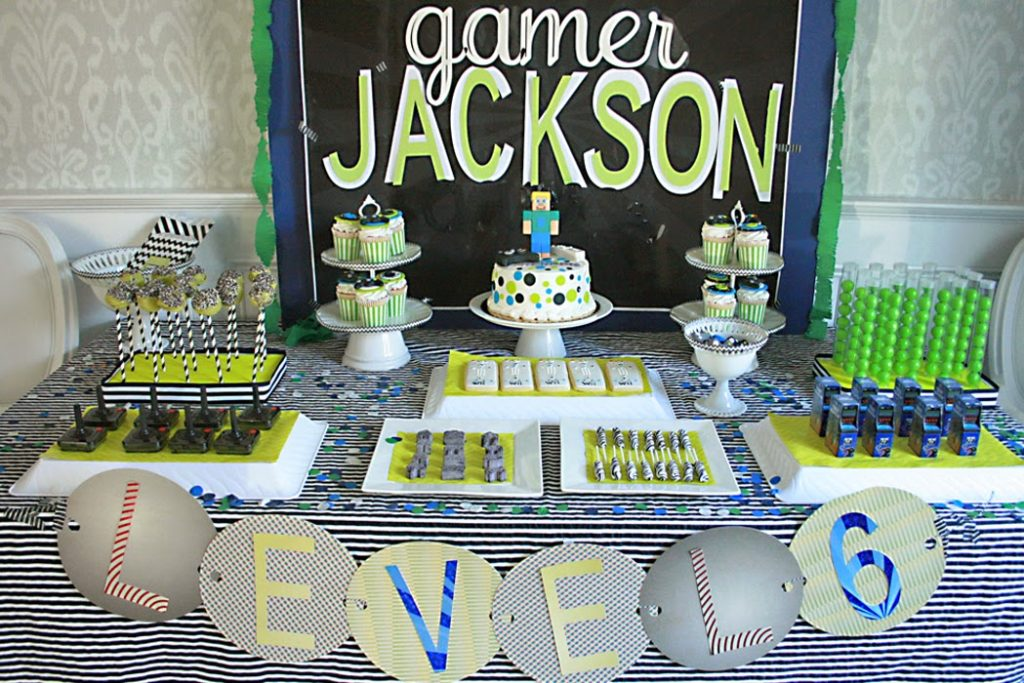 video game, birthday party, minecraft party, vintage video game