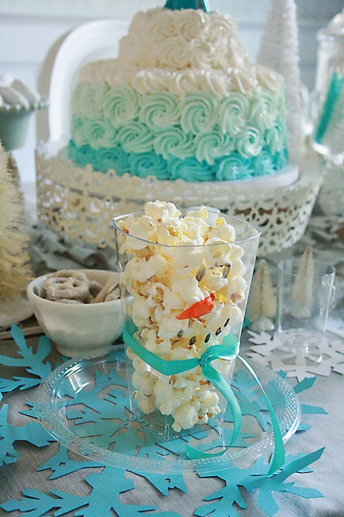 Frozen birthday party with olaf popcorn