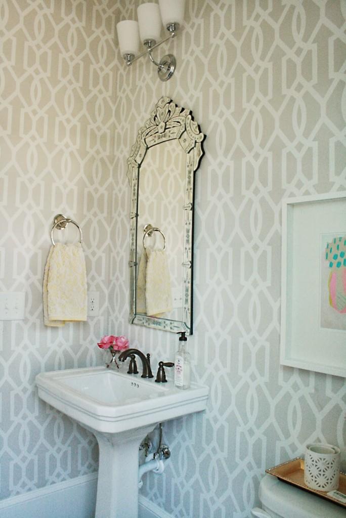 guest bathroom, powder room, venetian mirror