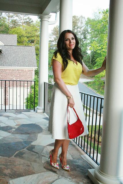 white midi skirt, fashion post, watercolor pumps, kate spade, summer style