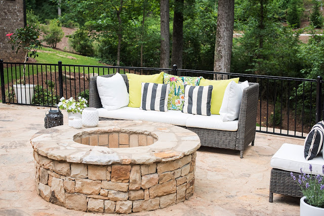 stone patio, backyard landscaping, renovation, before and after
