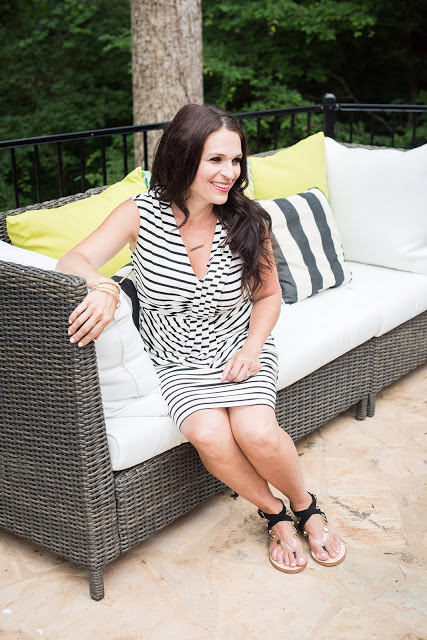 Modern outdoor living space with sofa and wicker chair   Darling Darleen Top CT lifestyle blogger