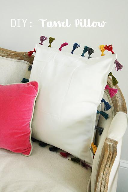 diy tassel pillow, anthropologie inspired, ikea hack, pillow tassel, bohemian