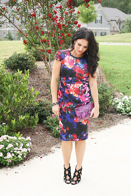 floral dress, purple dress, darling darleen, darleen meier jewelry, betsey johnson