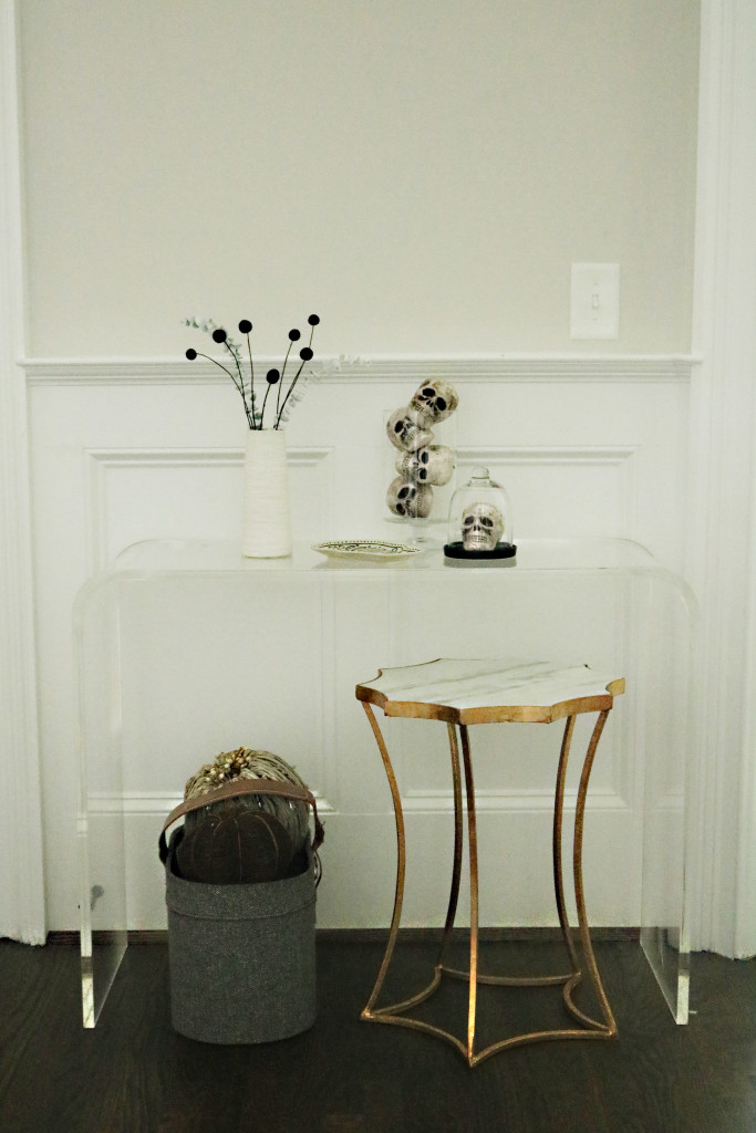 modern halloween decorations skeletons in a jar front door console table