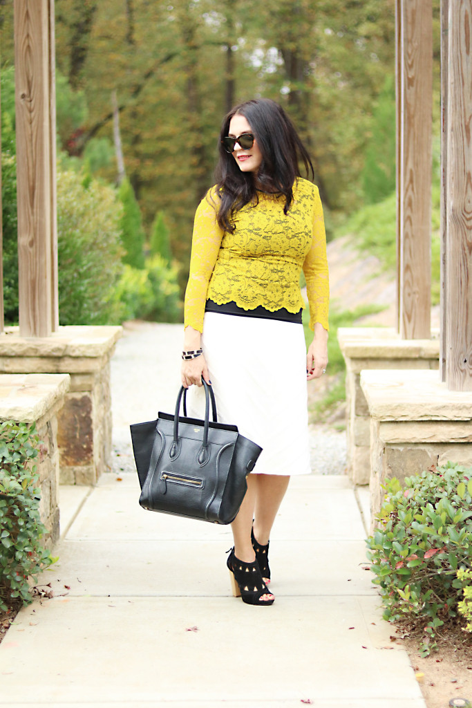 winter white thick skirt black bag