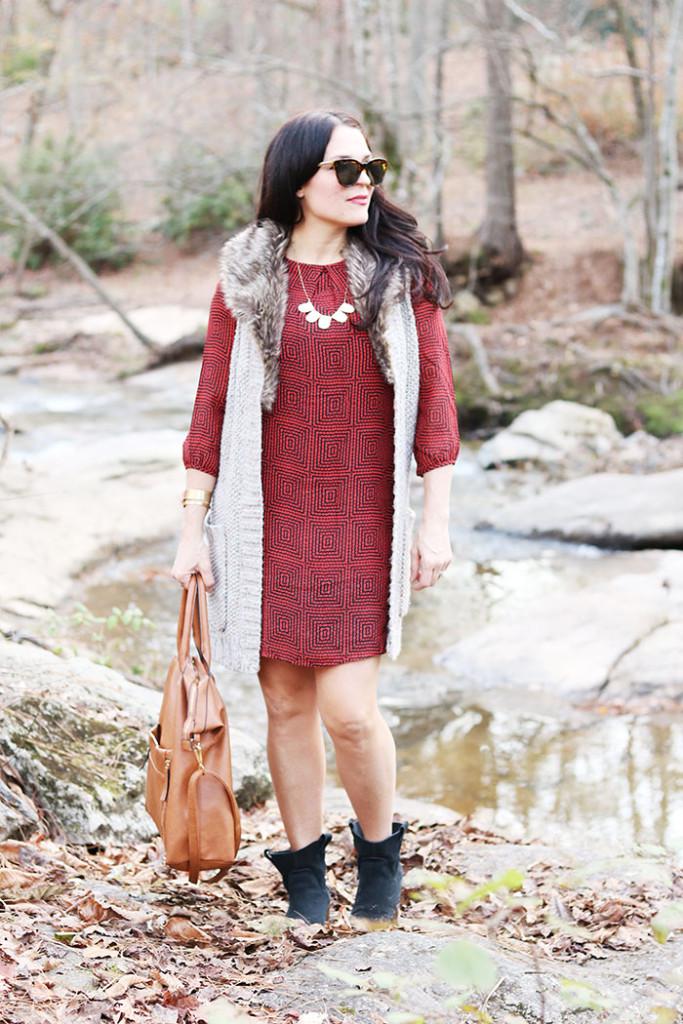 shift dress outfit fall brown bag darleen meier jewelry