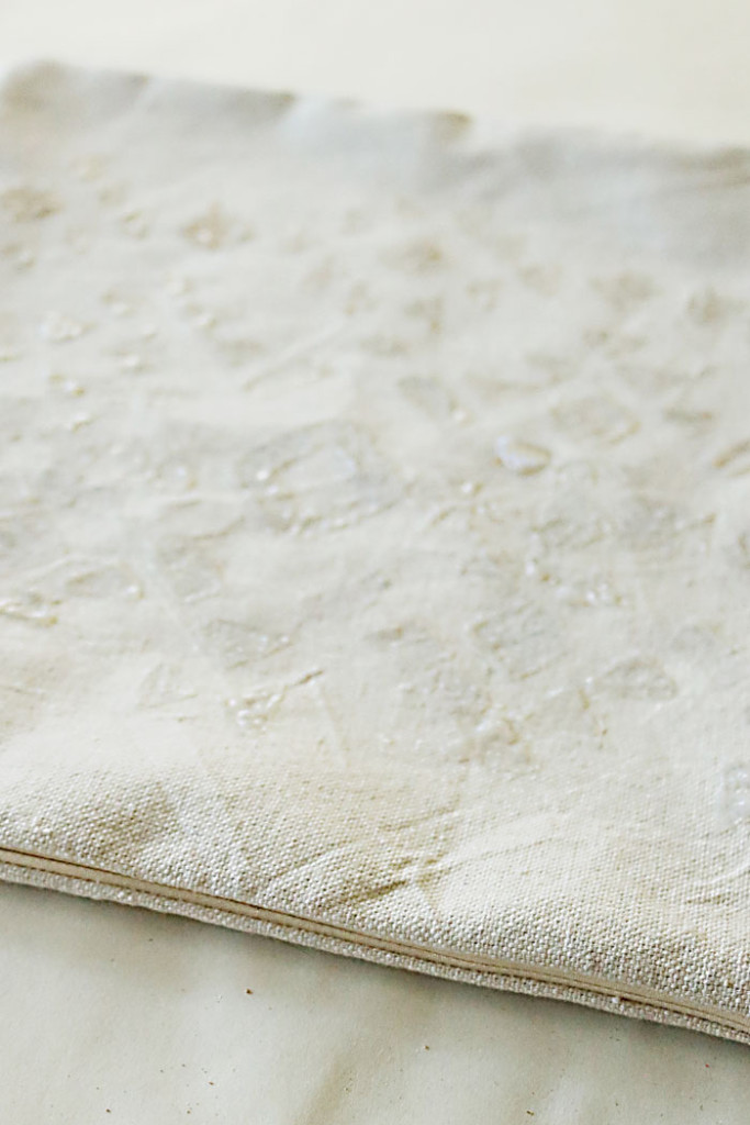 diy-gold-foil-pillow-glue-drying