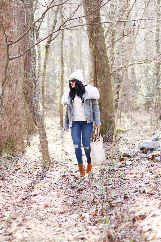 plaid-fur-coat-and-eyelet-top winter spring outfit, moto jacket, eyelet spring trend