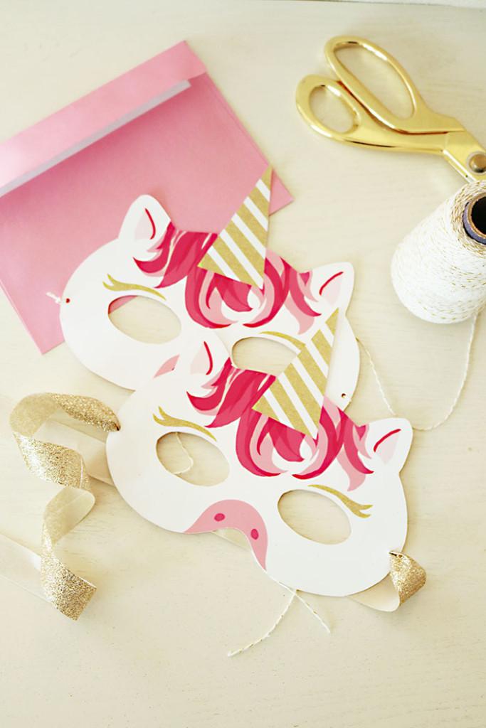 unicorn mask invitation free printable お面 マスク かぶり