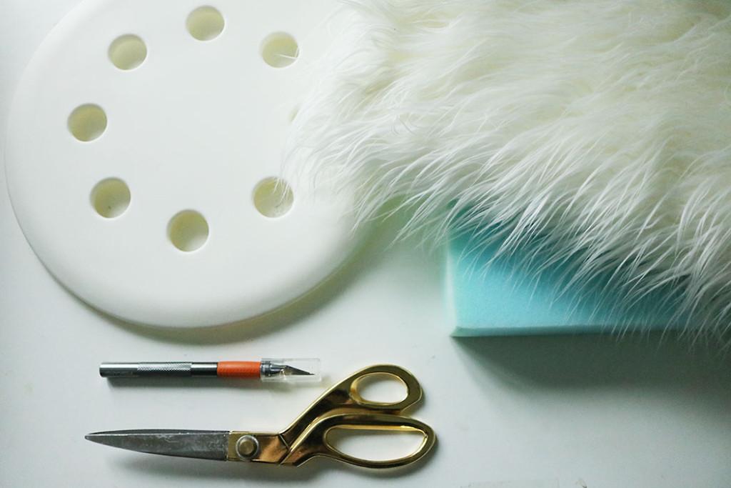 white-fur-stool-diy-supplies