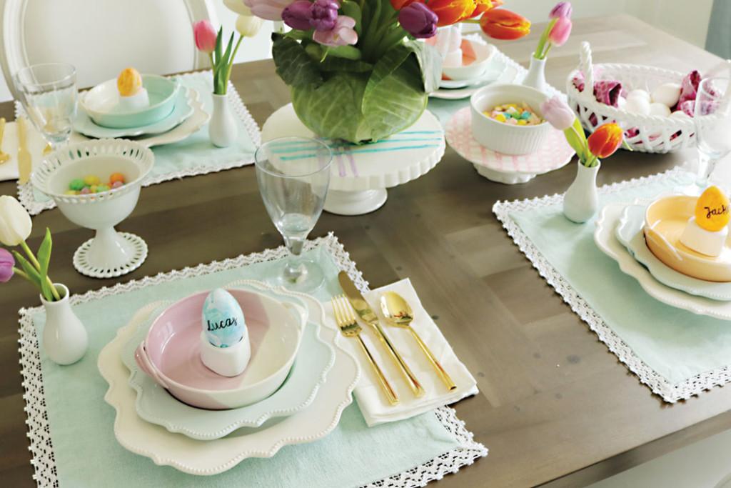 Easter-table-with-pastel-colors, Easter-table-decorations, spring easter table decorations, easter tablescapes, easter table settings, DIY easter, simple easter table, easter centerpieces, ideas, christian, spring, cheap, cute fun easter place settings