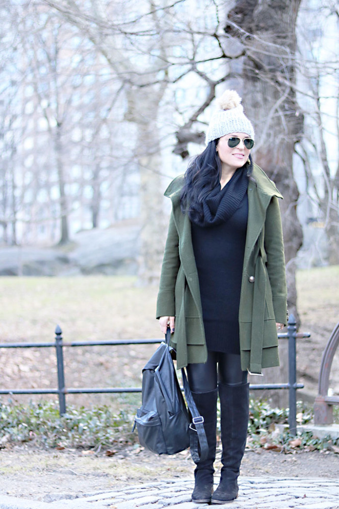 army-green-winter-coat-black-backpack, olive green winter coat, new york city fashions, winter outfits, this way that way