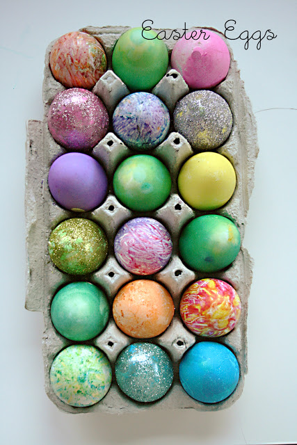 decorated easter eggs, glitter eggs, tie dyed easter eggs, crayon easter eggs