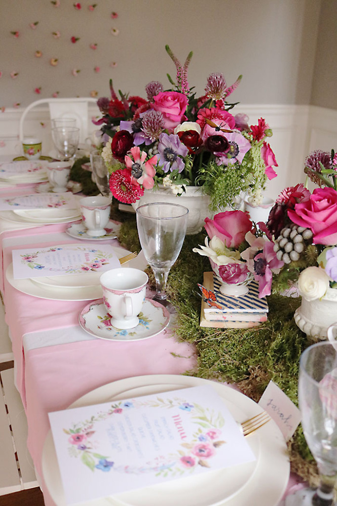 Indoor garden tea party for a shower darling darleen a for Garden table decorations