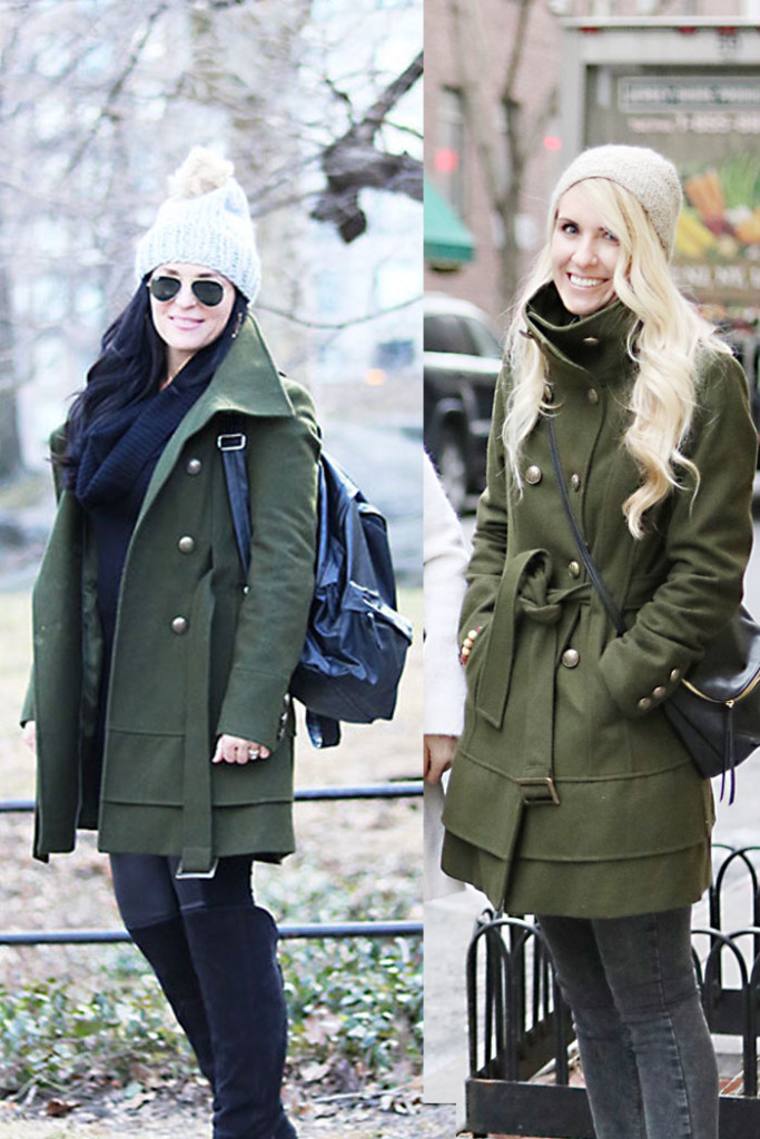 this-way-that-way-army-green-coat, olive green coat, new york fashions, best friend outfits, how to wear, how to style it, winter coat, winter outfits, mutze hat