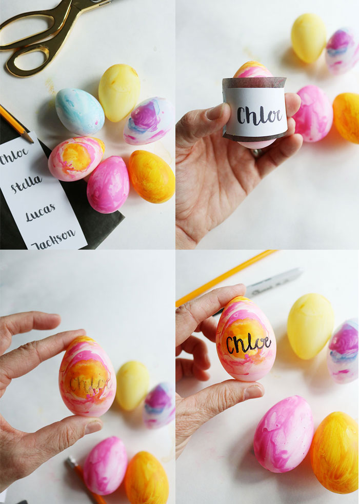 watercolor-easter-egg-place-cards-how-to, scripted font names, graphite paper, sharpie project, painted eggs