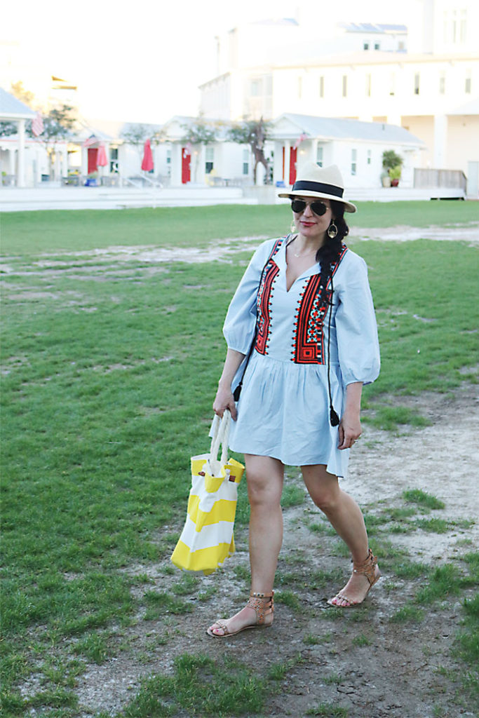 beach-cover-up-in-Florida-with-hm, embroidery tassel dress for summer trend