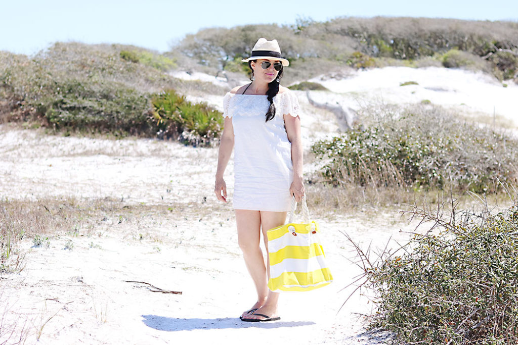 off-the-shoulder-white-dress-with-hat