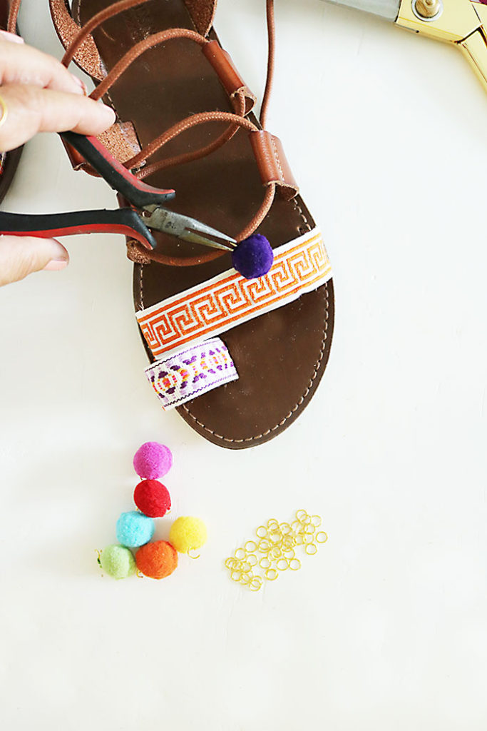 DIY-pom-pom-sandal-crimp-jump-ring