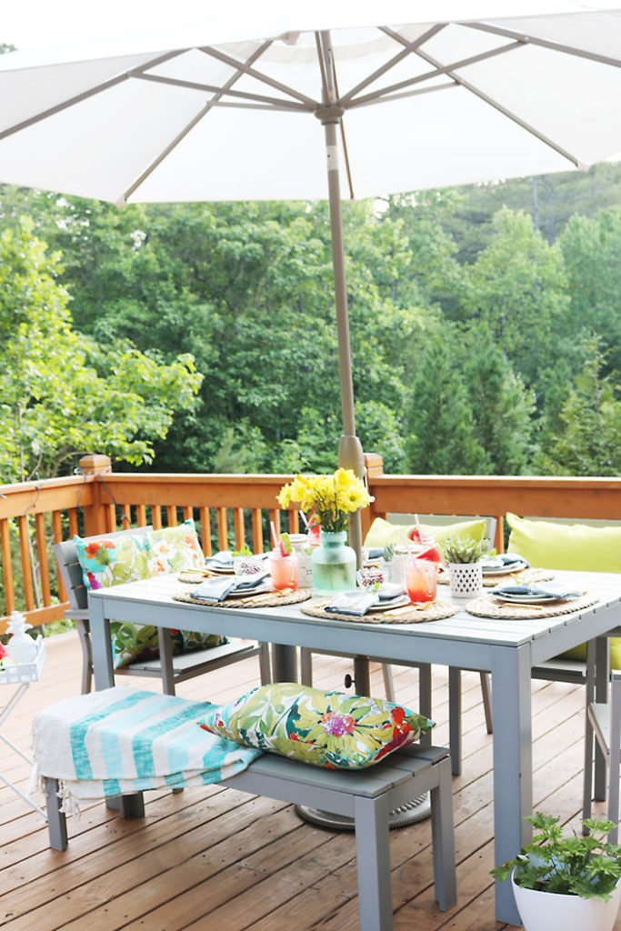 patio-barbecue-set-up-table, cherries-in-a-bowl-on-table, 10 tips for the perfect outdoor backyard party, bbq, barbecue, barbeque, backyard dinner, ideas, tips