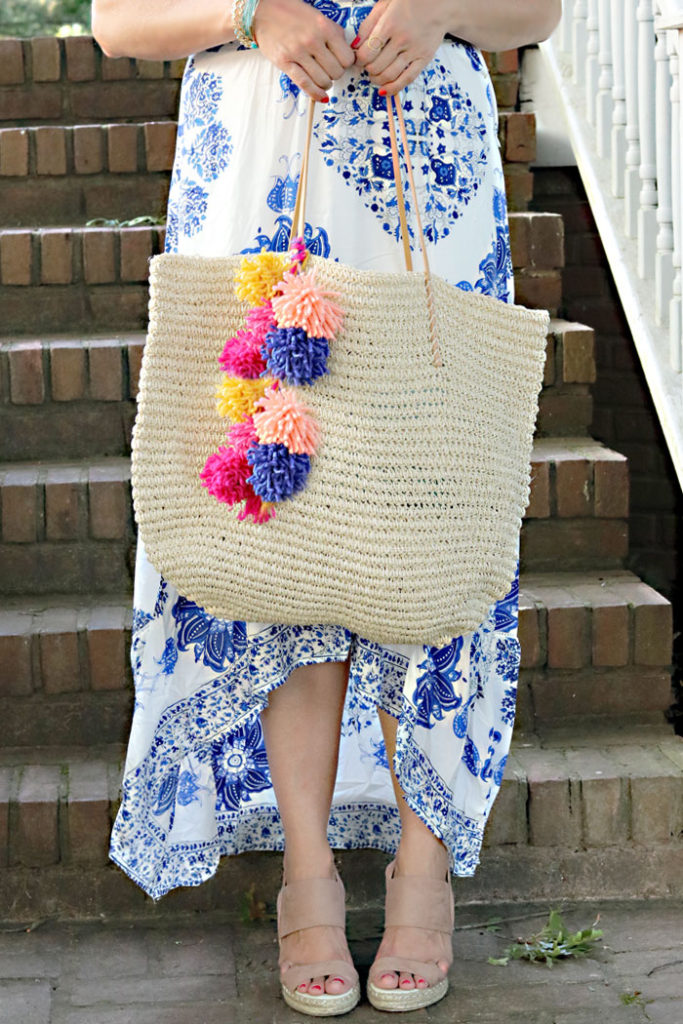 diy-pom-pom-bag-with-dress