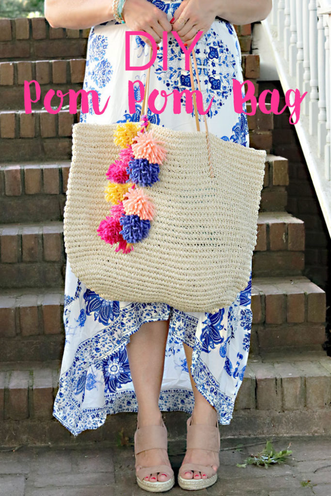 diy-pom-pom-bag, tassel tote bag diy, pom pom making, yarn pom pom, tassel diy bag, summer beach bag