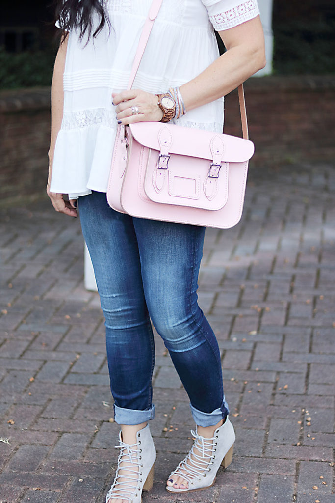 leather-satchel-close-up, leather-satchel-anthro-white-boho-shirt, leather-satchel-co-boho-look, classic leather satchel, the leather satchel co., british made, college back to school style, anthropologie tunic, pink purse, mom style, braid hair style, jeffrey campbell lace up heels, jord wooden watch