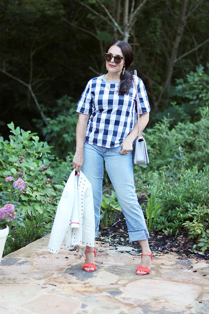 plaid-shirt-with-boyfriend-jeans-and-orange-heels