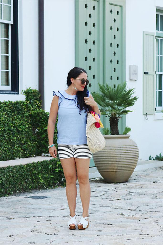 alys-beach-turquoise-house-outfit, alys-beach-green-lawn, alys-beach-orange-shutters, alys beach florida, 30A, destin florida, florida panhandle, seaside florida, what to wear, ocean outfit