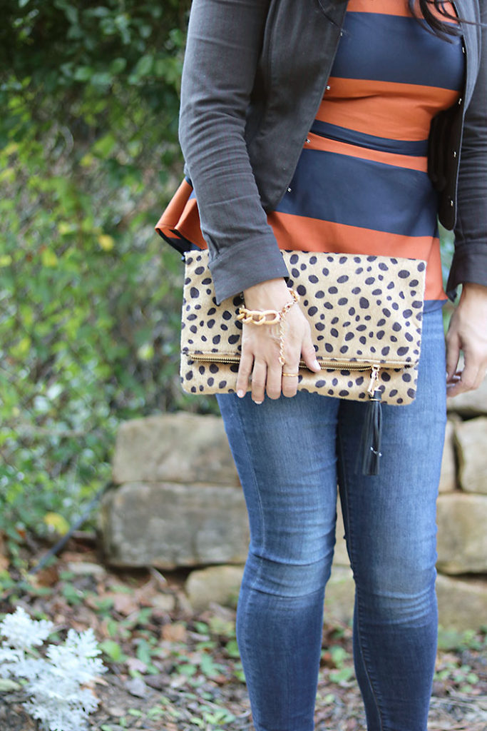 business-casual-jacket-and-leopard, leopard clutch with darleen meier jewelry