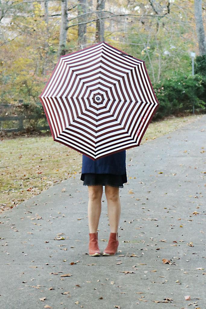 fall-finds-sale-with-striped-umbrella, henri bendel, striped umbrella, shift dress, jeffrey campbell booties