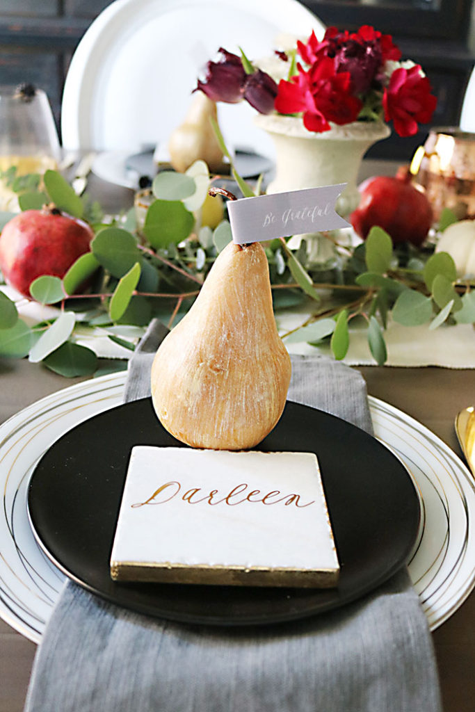 farm-to-table-metallic-pear-decor, farm-to-table-thanksgiving-table-decor, farm-to-table-thanksgiving-flower-and-fruit, thanksgiving centerpiece, tablescape, organic raw, fresh fruit, autumn colors, pearls, metallic pears, thanksgiving table decor, name placement,