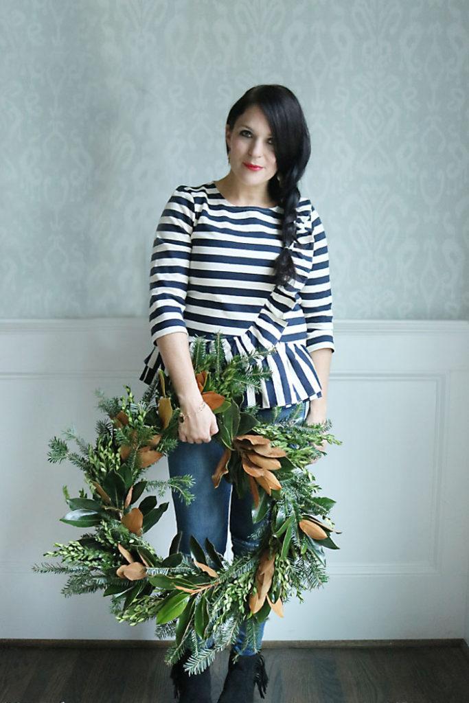 magnolia-wreath-diy-display, magnolia-wreath-diy, magnolia wreath diy, magnolia christmas decoration, southern christmas, christmas wreath diy, how to make a magnolia wreath tutorial, mixed branch christmas wreath, cedar wreath