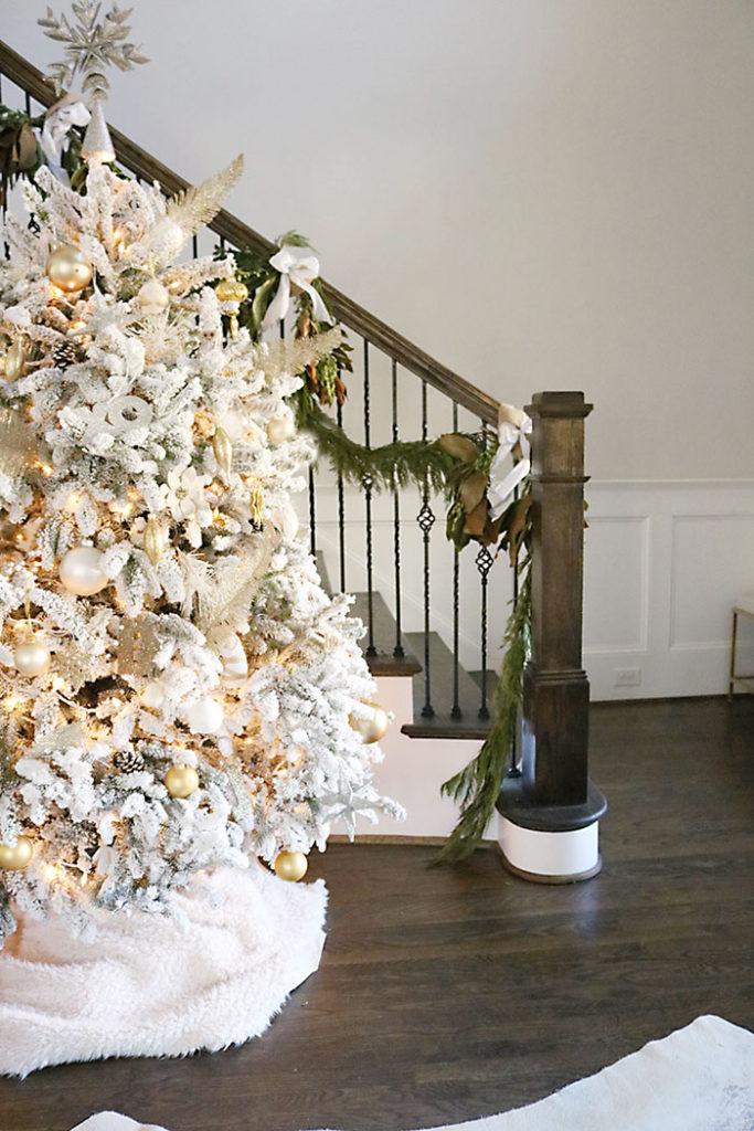 christmas-house-decorations-white-flocked-tree