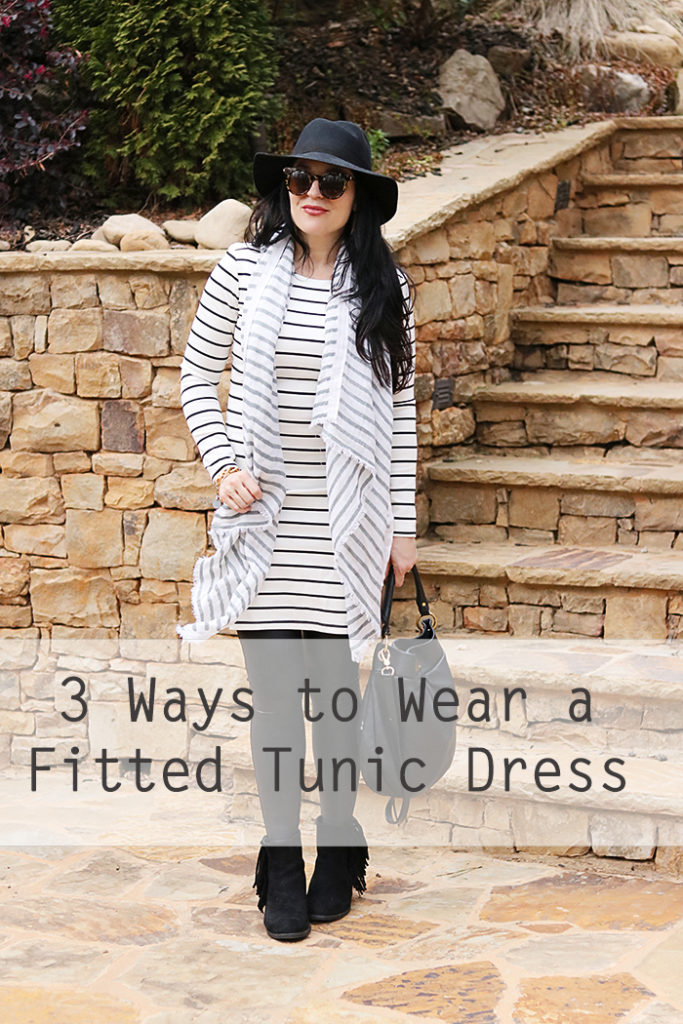 3 ways to wear a fitted tunic dress, stripe on stripe outfit, winter outfit, one outfit multiple ways, one way multiple times, stylish outfit to wear multiple times, how to travel light, traveling outfit ideas, utah outfit winter ideas