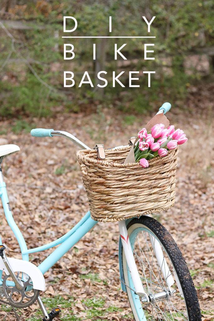 diy bike basket, bike basket with leather strips, old basket, wicker basket, beach cruiser, spring bike ride
