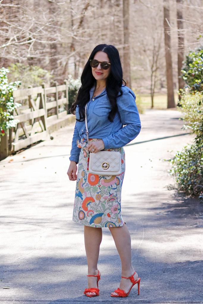 best spring floral skirts, spring floral skirts this season, spring fashion, j.crew, banana republic, kate spade quilted bag, spring fashion 2017