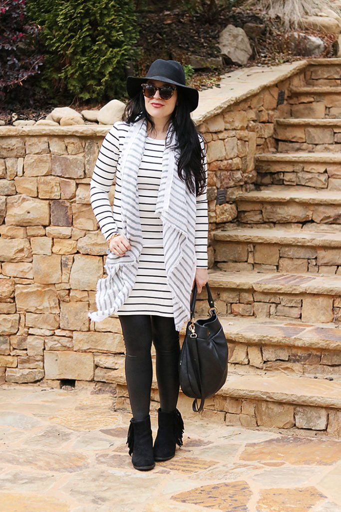 3 ways to wear a tunic dress, wide brim hat, one outfit multiple ways, h&m dress, fringe boot, striped tunic dress, tunic and leggings, amazon fashion, utah winter outfit