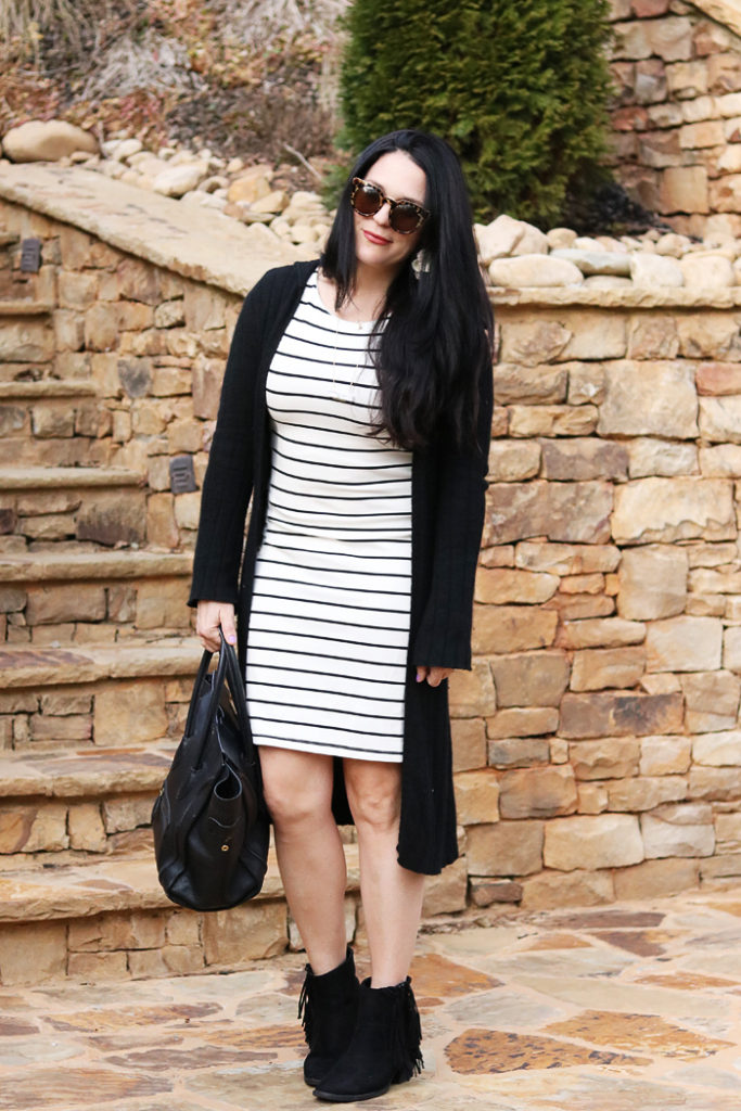 3 ways to wear a tunic dress, wide brim hat, one outfit multiple ways, h&m dress, fringe boot, striped tunic dress, tunic and leggings, amazon fashion, utah winter outfit, long cardigan