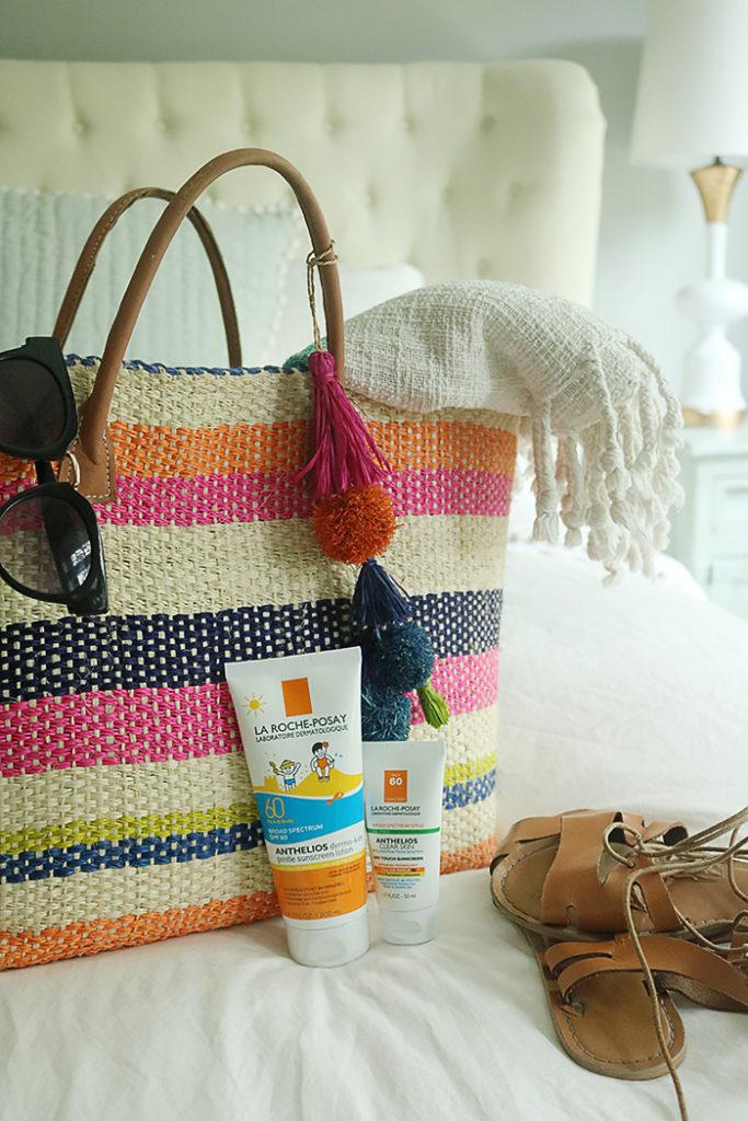 skincare during the summer months, amazon fashion, vichy laboratoires, La roche-posay, sunscreen for sensitive skin, hat attack beach bag, skincare routine,