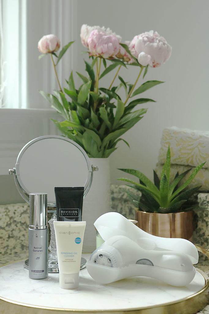 anti-aging skincare tips, life time fitness, life spa, serum, retinol, clarisonic brush, daily skin care routine, anti-aging