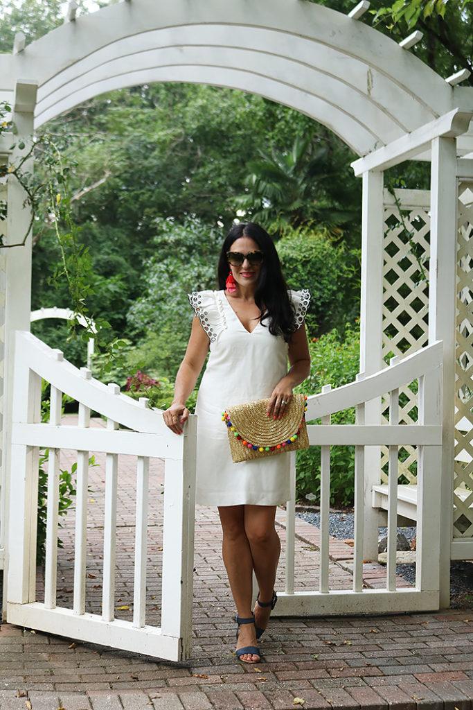 white summer dress, wedding summer dress, Darleen Meier Jewelry, tassel earrings, j.crew dress