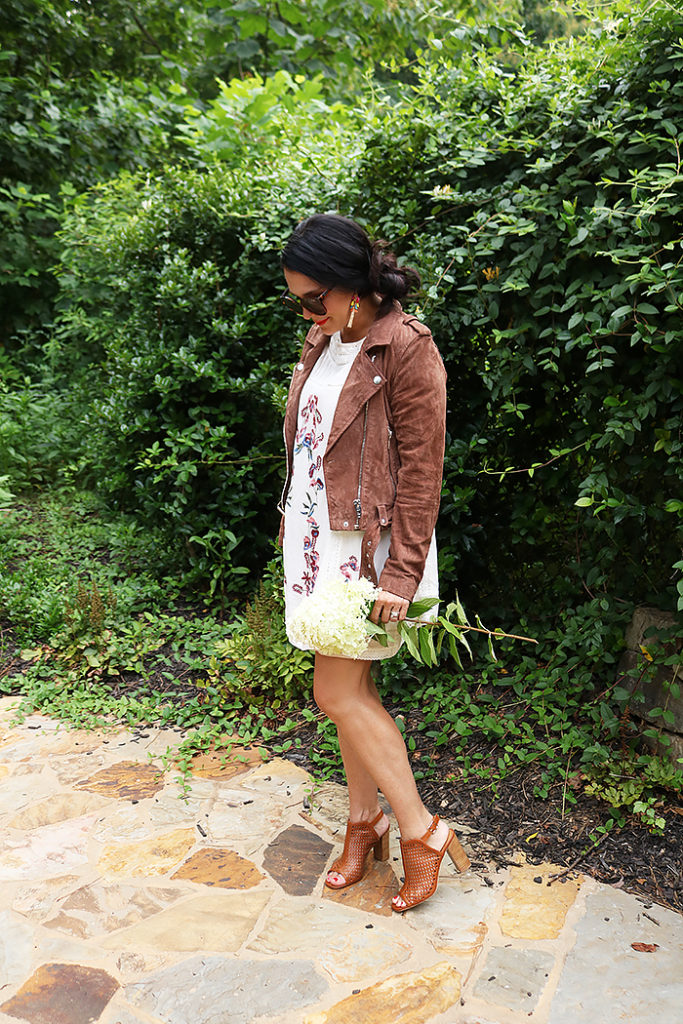 wearing fall in summer, nordstrom anniversary sale, blank nyc suede jacket, free people embroidery dress, cecelia New york, fashion, fall clothes in summer