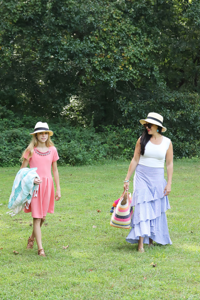 end of summer blues, summer style outfit, summer picnic outfit, crew cuts dresses, teenage outfit, Ruffle skirt, darleen Meier jewelry, hat attack bag, Banana republic blue ruffle skirt, summer casual style, favorite summer style outfit