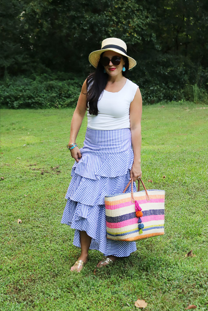 end of summer blues, summer style outfit, summer picnic outfit, Ruffle skirt, darleen Meier jewelry, hat attack bag, Banana republic blue ruffle skirt, summer casual style, favorite summer style outfit
