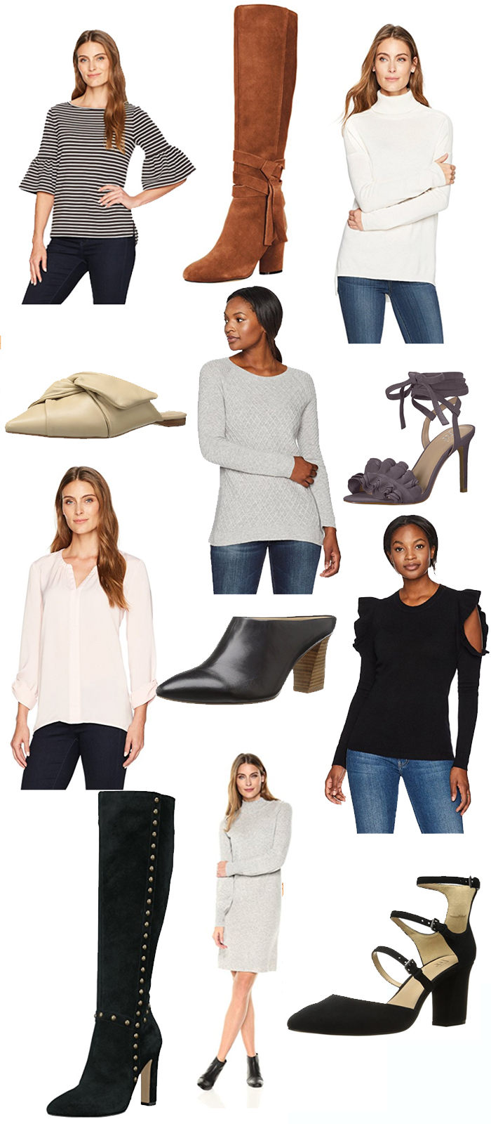 amazon fashion new brands, lark and ro, the fix shoes, booties, winter style 2017, fashion clothes, winter booties, winter fashion outfit styling, mules, bow mules, ruffles, heels
