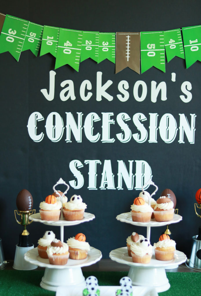 Sports Themed Birthday Party, Football Banner, Concession Stand, Cupckeas    Darling Darleen