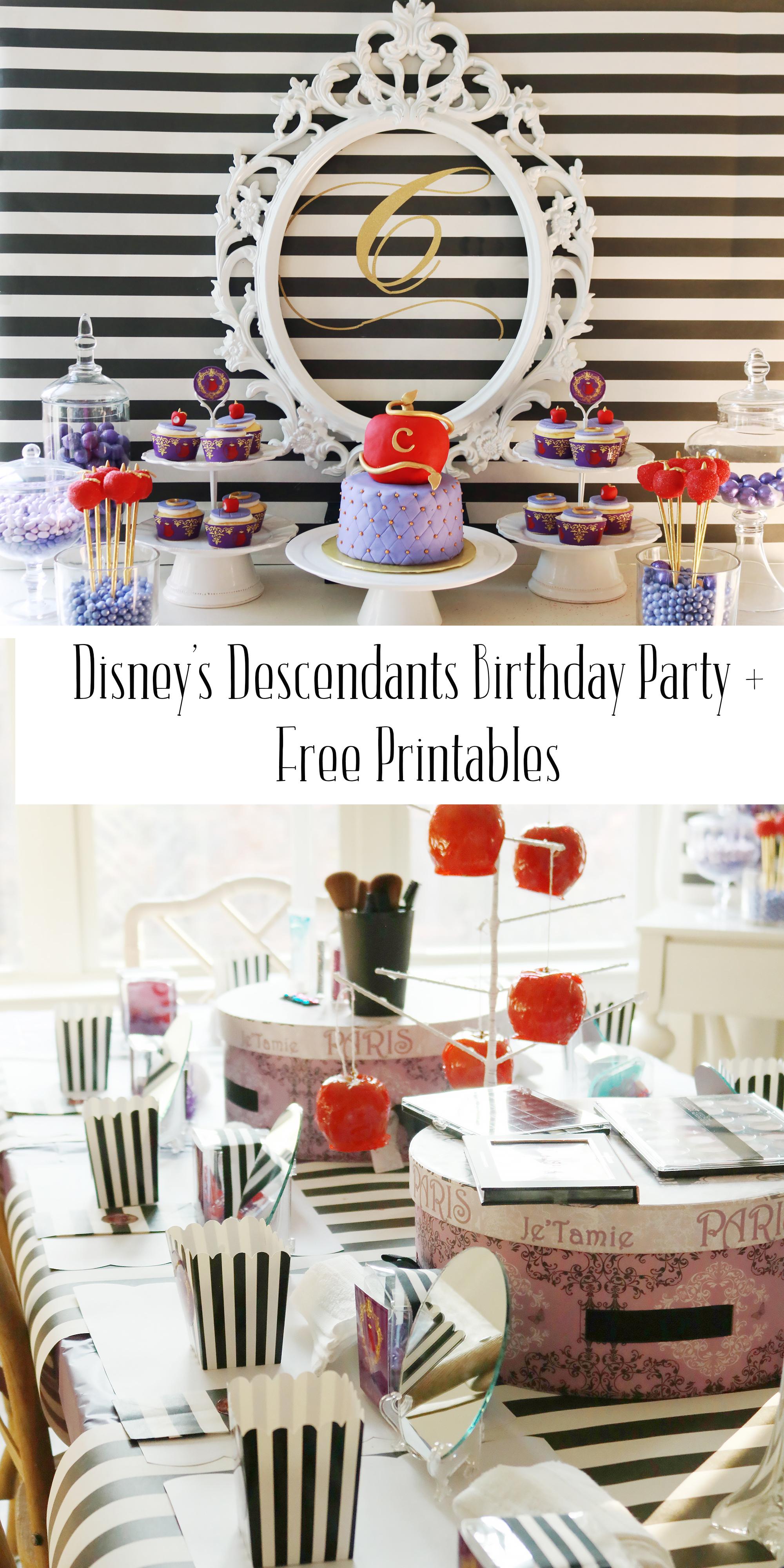 Disney's Descendants Birthday Party + Free Printables